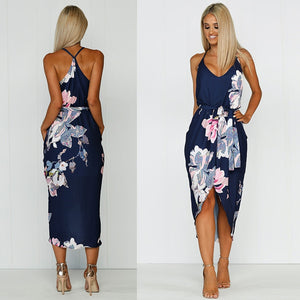 New 2019 Fashion Summer Dress Women Print Bohemian Chiffon Casual Dress V-Neck Backless Asymmetrical Sexy Party Dresses Vestidos