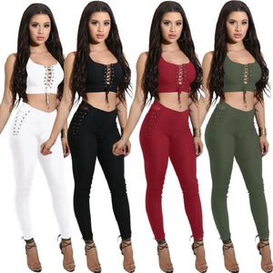 New Summer 2019 Casual Women's Sets Sleeveless Bandage Sexy Two Pieces Set Short Top And Long Pants Slim Fashion Women Clothing