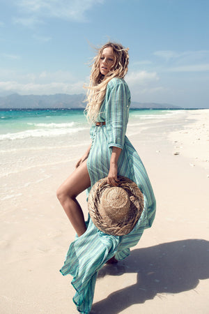Beach Wind Green Stripe Print Cardigan Shirt Sleeve Maxi Dress