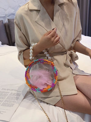 Transparent hand-knit crossbody chain bag