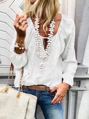 Lace Up Fashion V Neck Long Sleeve Tops