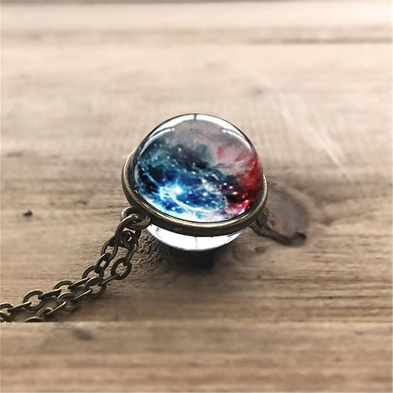 Double-sided Glass Ball Handmade Star Necklace