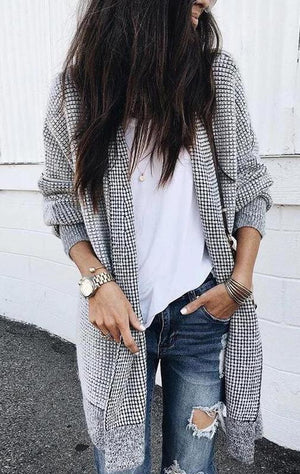 Black &White Plaid Long sleeve Pocket Cardigan