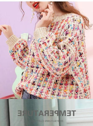 Lantern Sleeve Color Line Knit Sweater