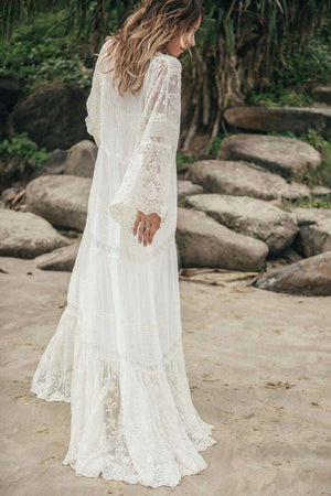 Maxi Silk V-Neck Long Puff Sleeves Wedding Dress