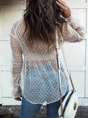 Sexy V-neck  hollowed-out lace blouse
