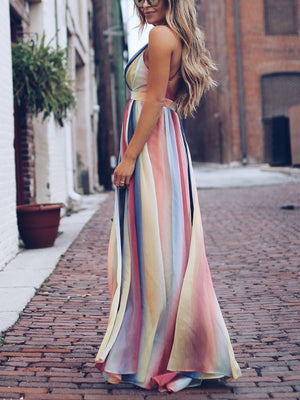 Chiffon Backless Striped Bohemian Split Maxi Dresses