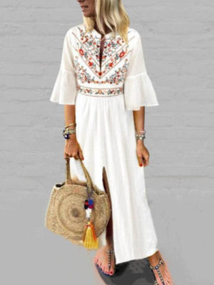 V-Neck White Printed ShortSleeve Maxi Dress