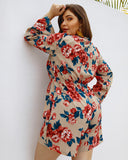 Lace up V Neck Long Sleeve Floral Print Rompers XL-4XL