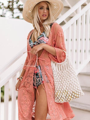 Lace solid color beach kimonos