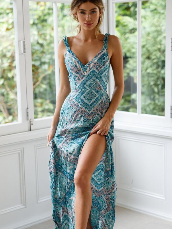 Sexy Sling Tied up Waist print dress