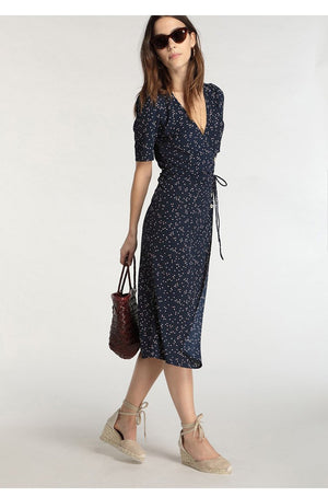Retro  Holiday Niche V-neck Floral Midi Dress