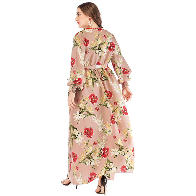 Summer V Neck Lantern Sleeve Floral Print Bohemian Maxi Dress XL-6XL