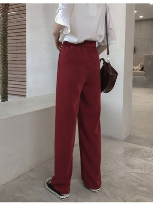 Simple loose wide leg high waist casual mopping trousers