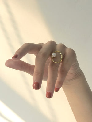 Simple European and American copper plated pearl open ring