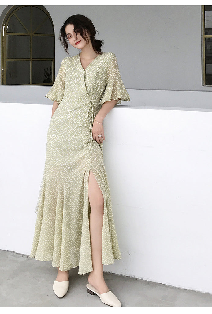 Drawstring dress women green elegant V neck long dress