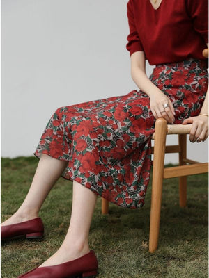 Casual and comfortable high waist floral chiffon skirt