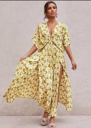 Bohemian Sexy Floral Short Sleeve Maxi Dress-3color