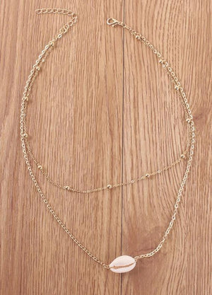 Simple Copper Bead Chain Shell Double Bohemian Necklaces