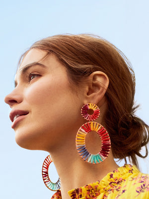 Bohemian Lafite Hand-woven Double Circle Earrings