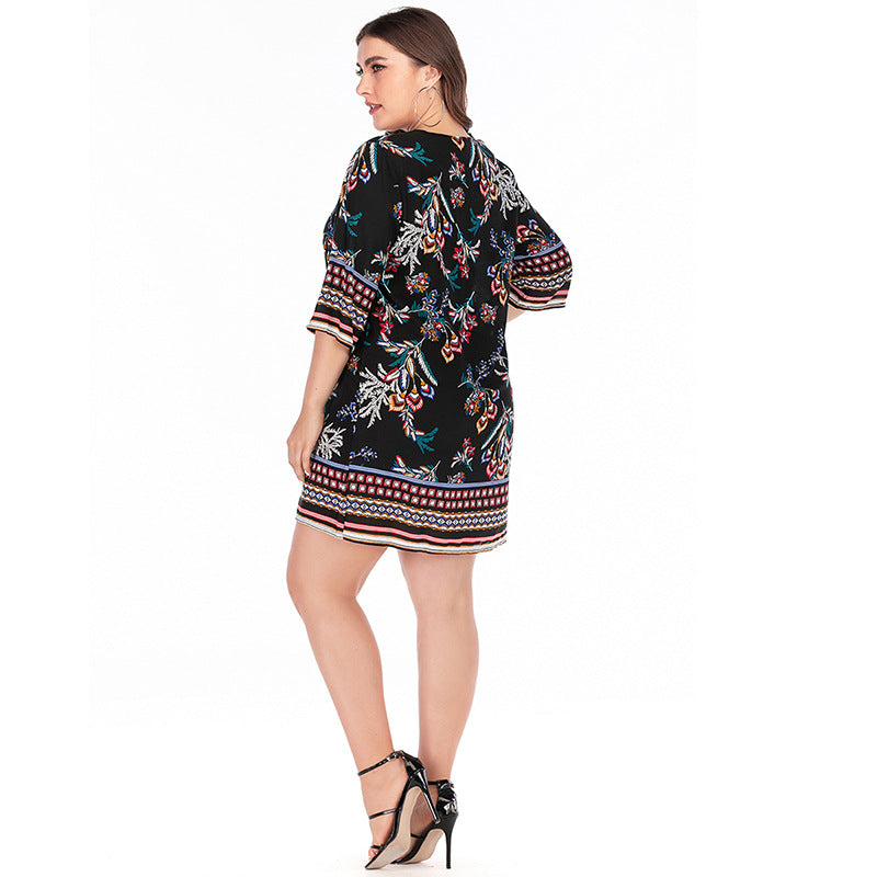 Embroidery O Neck Floral Print Short Mini Dress XL-3XL