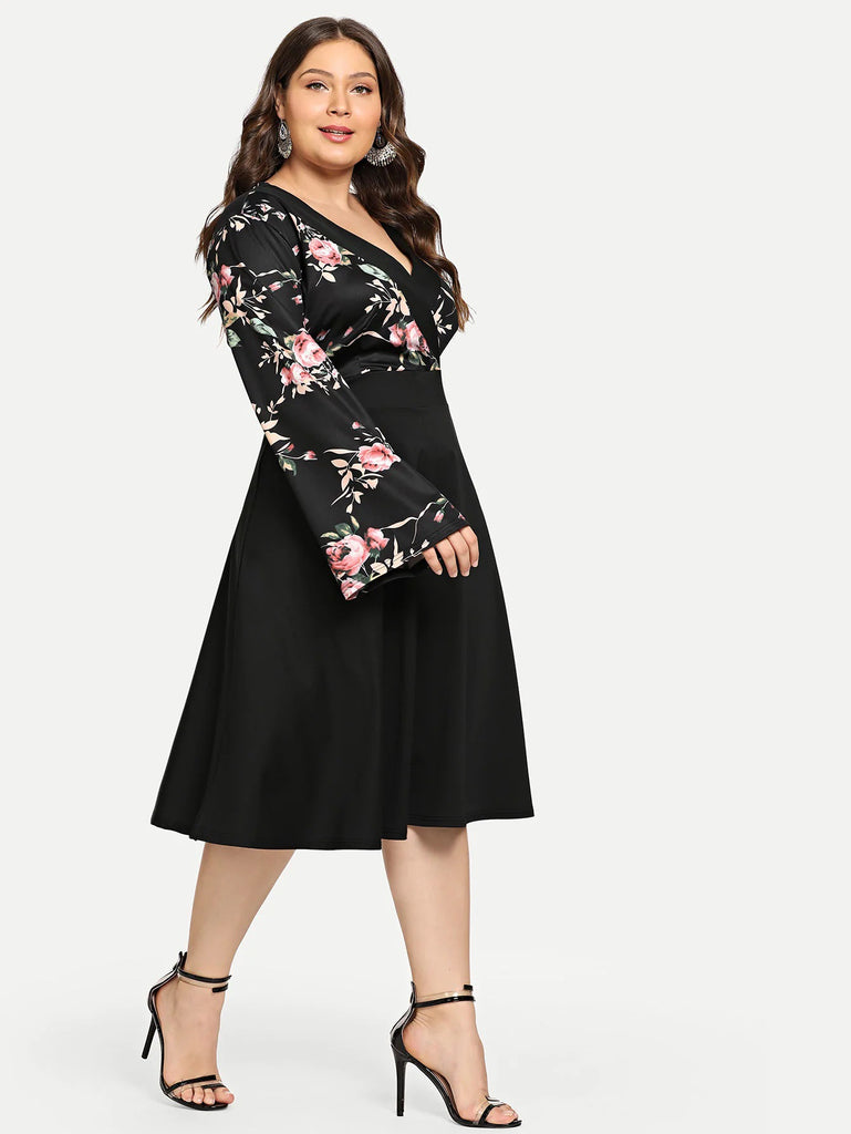 V Neck Flare Long Sleeve Floral Print Midi Dress XL-4XL