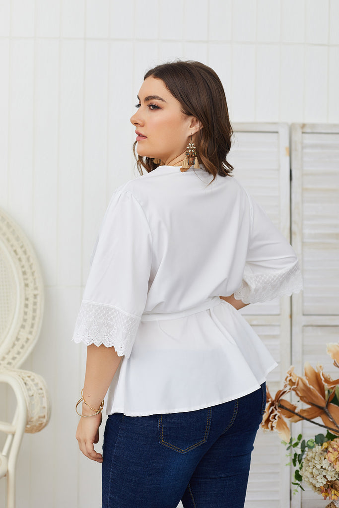 Casual Loose V-neck White Lace Deep Shirt L-4XL