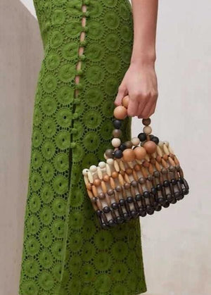 Hand Woven Beaded Natural Wooden Beaded Bamboo Clutch