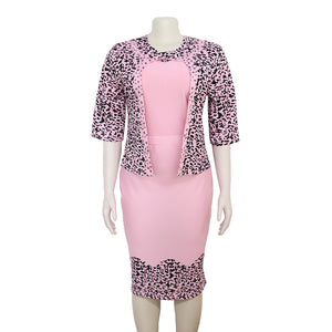 Chic Leopard Printed Small Suit Jacket Slim Fit Two pieces Set XL-5XL