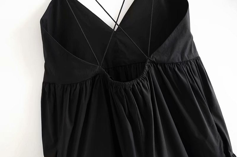 Vintage Backless Cross Drawstring Bundle Waist  V-neck Strap Mini Dress