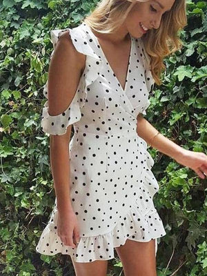 Boho Polka Dots Deep V Neck Boho Mini Dresses