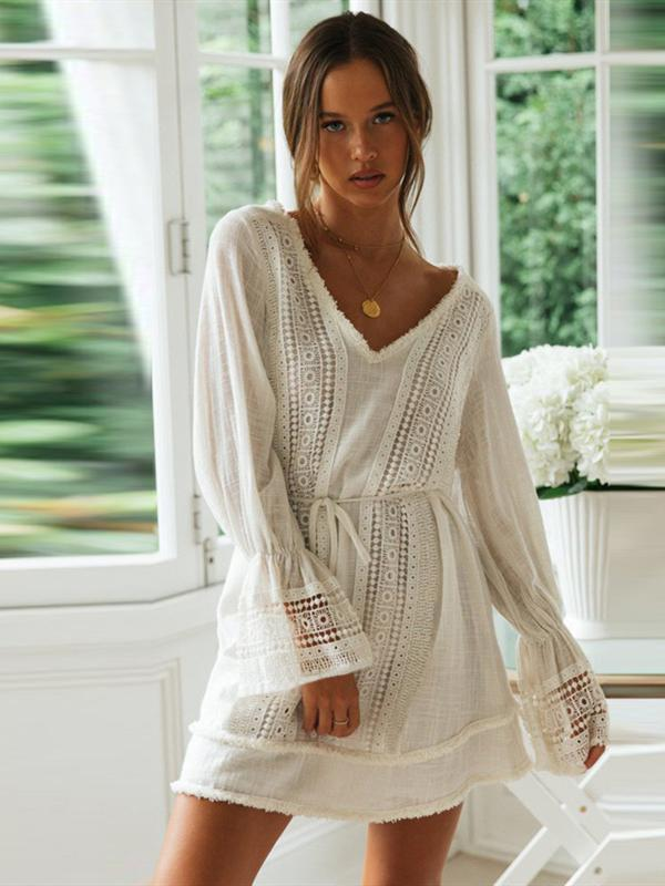 Long-sleeved Openwork V-neck Fringed Lace Stitching Dress