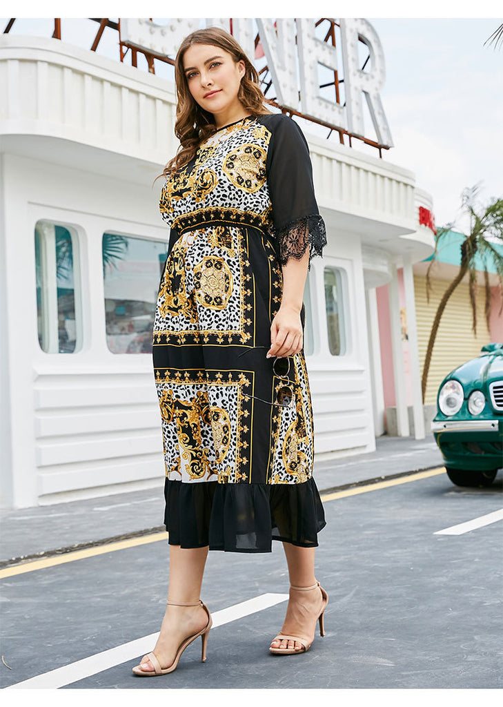 Fashion Lace Patchwork Sleeve Retro Printing Maxi Dress  XL-5XL