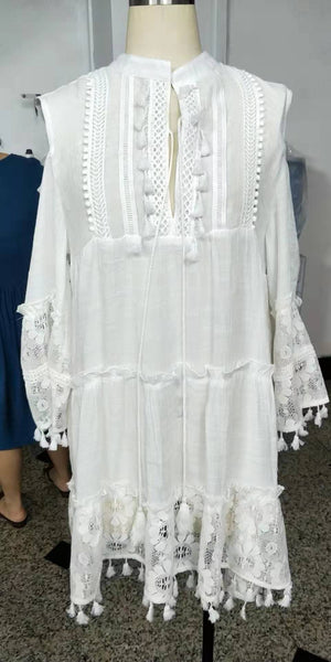Summer Beach V Neck Sexy Loose Bohemian Lace Dress