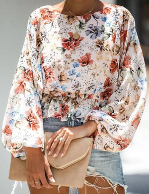 Lantern Sleeve Broken Bouquet Waist Long Sleeve Shirt