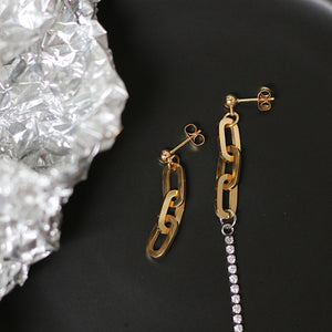 Asymmetric coarse section color line drill chain earrings