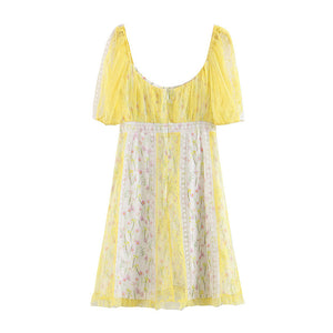 Puff Sleeve Yellow Lace Vintage Mini Dress