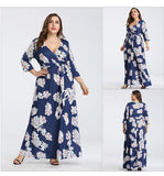 BOho Navy Sexy Deep V Printing Dress L-3XL