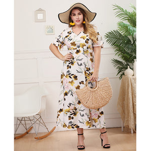 Printed Short Sleeve V Neck Bodycon Summer Dress L-4XL