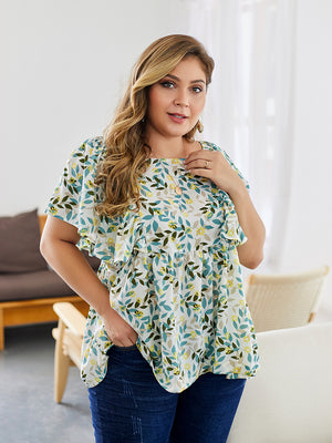 Summer Print Ruffled Leaves Print Blouse XL-4XL