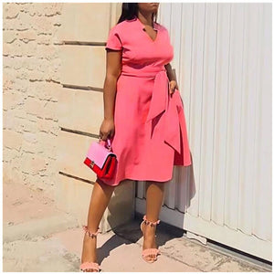 Pink Sweet Fashion Elegant Summer Plain Vintage Midi Dress S-3XL