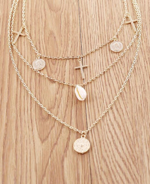 Emperor Avatar Cross Shell Multi-layer Necklace