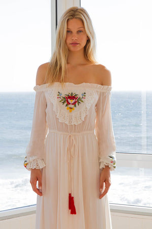 Bohemian Flower Word Shoulder Sexy Embroidery Goddess Dress