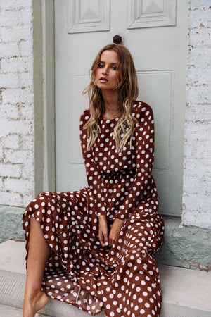 Elegant Polka Dots A-Line  Ruffled Maxi Dress