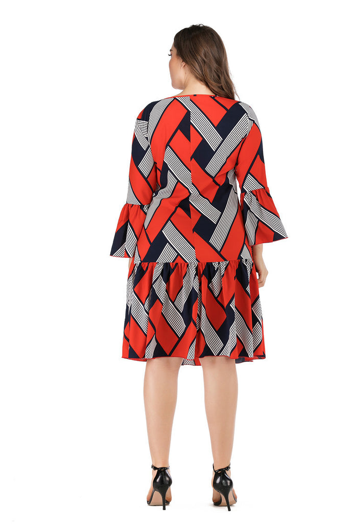 Red Casual Long Sleeve Plaid Striped Print Patchwork Midi Dress XL-5XL