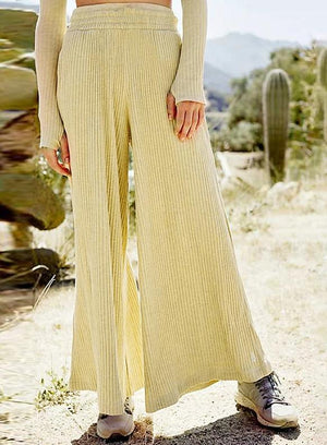 High Waist Wide Leg Apricot Color Boho Pants