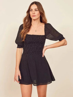 Vintage Sexy Square Collar Polka Dot Mini Dress