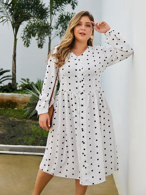 Retro Dot Print V-Neck Print Long Sleeve Chiffon Dress XL-4XL