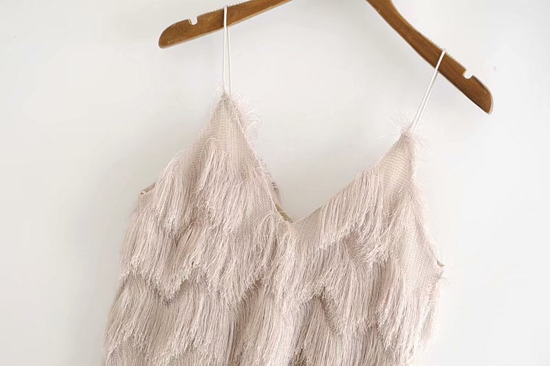 Camisole Sexy Tassels Low Chest Spaghetti Strap Top