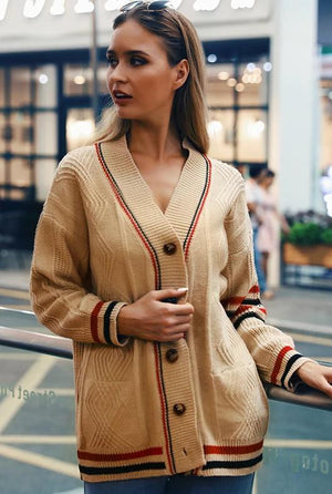 Contrast Striped Woolen Cardigan Coat
